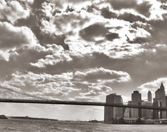 Wall art - Brookly Bridge - Photography - Gift -  Print - Poster -  Photograph - Photo - Black and White - New York