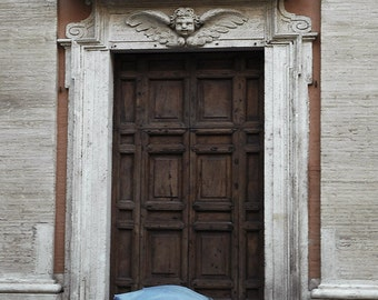 Wall art - Rustic Door - Blue Umbrella - Gift - Rome - Print - Poster -  Photograph - Photo - Shabby Chic Wall Art -Romantic Art Print