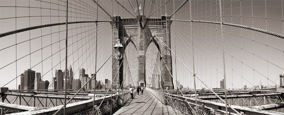Wall Art - Brookly Bridge - Photography - Gift -  Print - Poster -  Photograph - Photo - Black and White