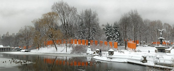Wall art - Central Park - Photography - Gift -  Print - Poster -  Photograph - Photo - Winter - Gates - Orange