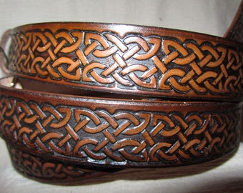 Customizable 1 1/4 inch, Celtic Braid Design Leather Work or Casual Belt