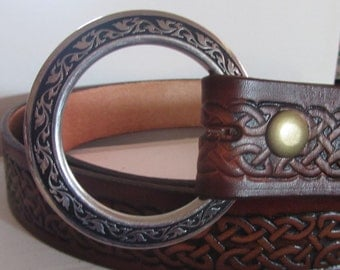 In Stock 1 1/2 inch, Celtic Braid Design Leather Ring Belt, Medieval, Renaissance, SCA, Fantasy