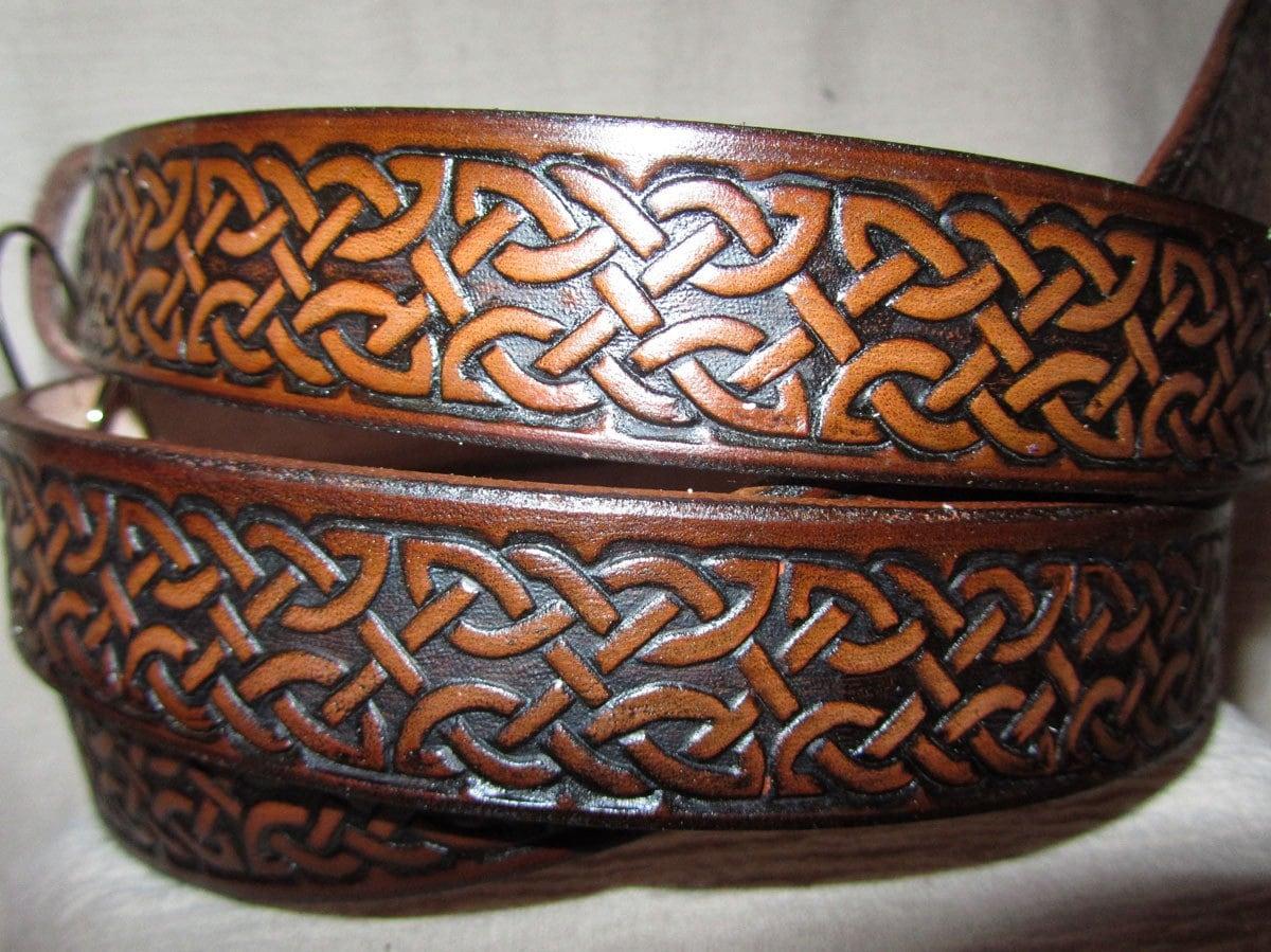 1 1 4 leather celtic belt leather belt by earthlyleatherdesign