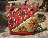 Turkish carpet bag tote kilim purse