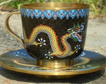 Chinese Dragon Cloisonne Cup & Saucer