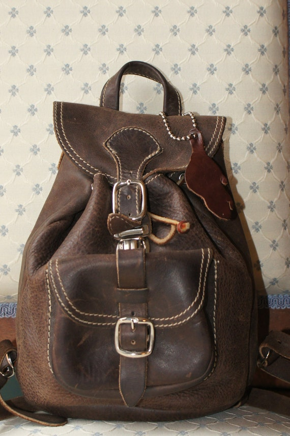 Roots brown leather mini backpack