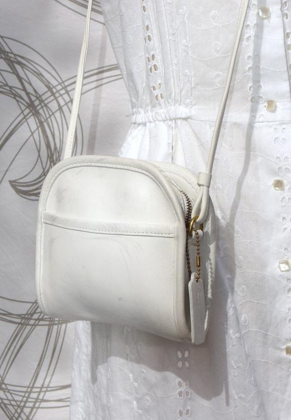 Coach white leather Mini Abbey sling purse