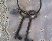 Vintage Cast Iron Jail Keys & Ring Tombstone Jail