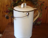 Antique Milk Can Porcelain Enamel Bucket Primitive Country Farmhouse Early 1900's Americana