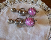 Wild 1950's Retro Silver Spiral Pink Hanging Earrings Awesome