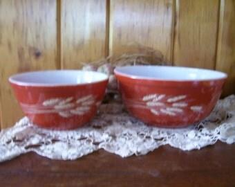 Pyrex Nesting Bowls Mixing Bowls Milk Glass Wheat Pattern SALE