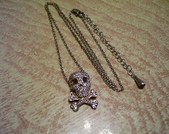 Skull & Crossbones Necklace Sterling Silver Cubic Zirconia Charm Goth Vintage Fine Jewelry On SALE