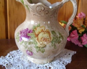 Buffalo Pottery Pitcher Rail Road Tableware Victorian 1905-1909 Rare