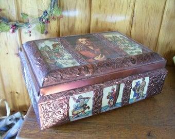 German Tin Biscuit Box Antique Kitchen E Otto Schmidt Copper Lithograph Great Graphics