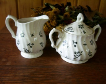 Staffordshire England Myotts Autumn Berries Cream & Sugar Bowl Set Rare