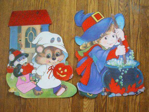 Two Cute Vintage 1980's Halloween Decorations