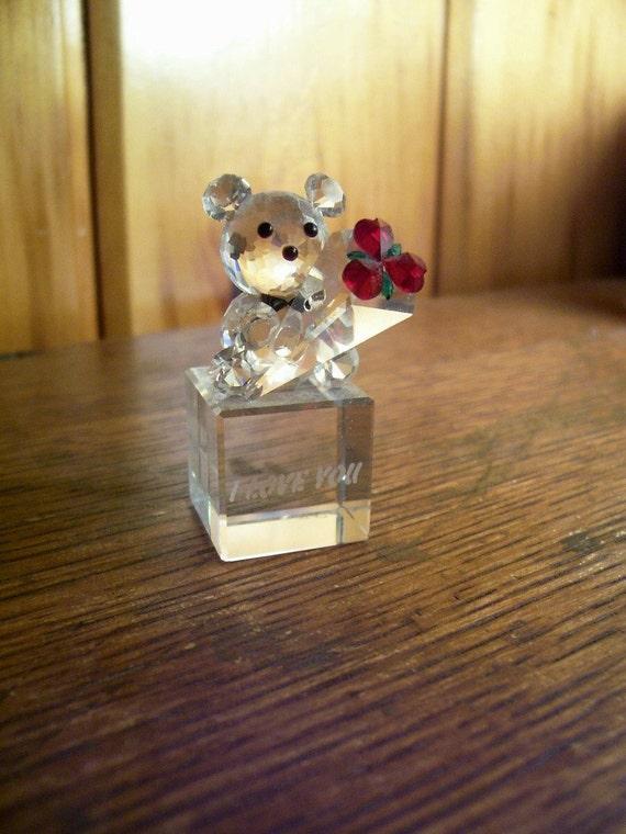 Love Bear Vintage 1980's Swarovski Crystal Teddy Bear w/Heart Roses I Love You