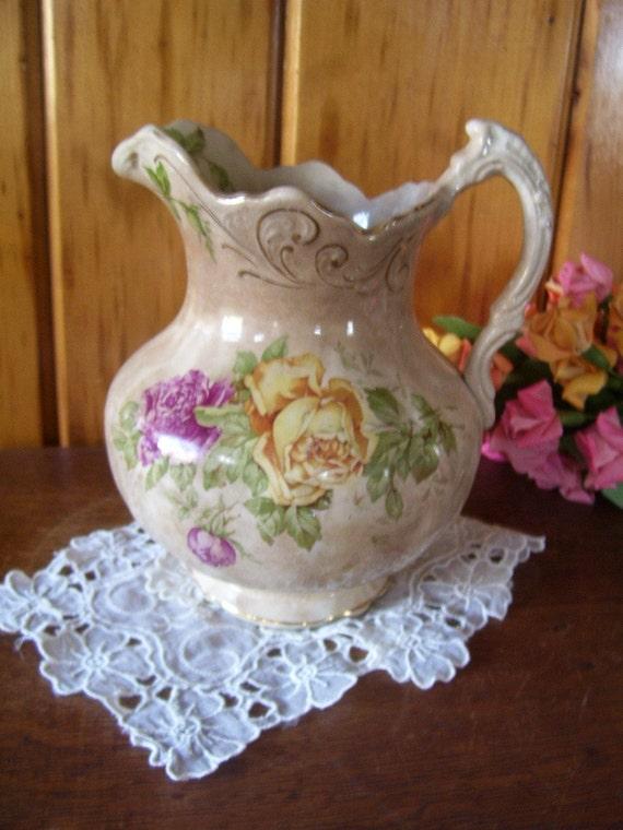 Buffalo Pottery Pitcher Rail Road Tableware Victorian 1905-1909 Rare