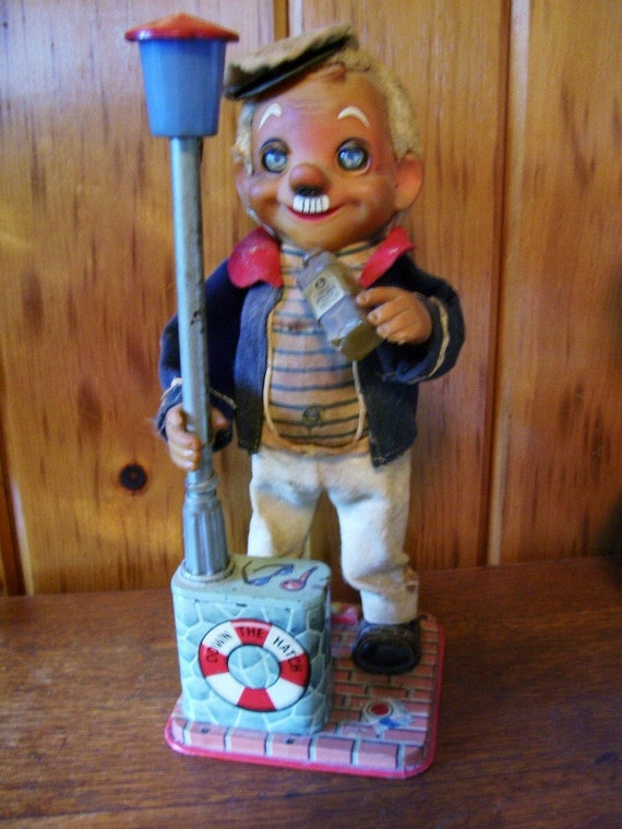 Charlie Weaver The Drinking Captain-Down the Hatch Antique Animated Tin Toy Doll
