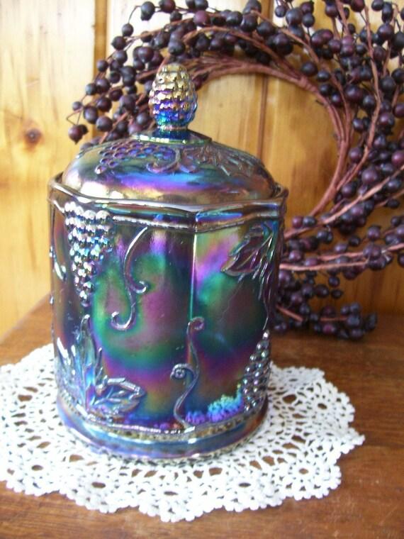SaLe Antique Indiana Glass Harvest Blue Carnival Glass Compote Candy Jar Grape & Leaf Pattern