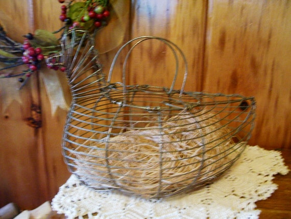 Country Rustic Farmhouse Antique Wire Chicken Hen Egg Basket