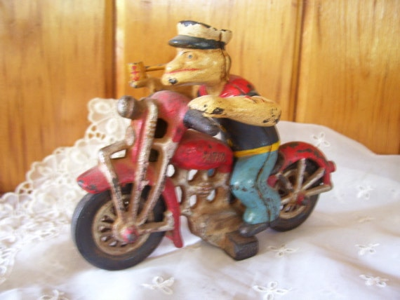 Reserved for DAN Antique Hubley Cast Iron Popeye on Harley Motorcycle