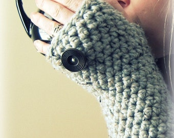 Thick Warm Cozy Fingerless Mittens- Wool Blend Made to Order grey gray marble