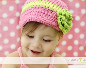 Big Time Three Newsboy Hat with Visor Brim- Cotton Made to Order Pink Yellow Green
