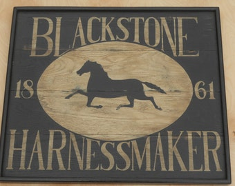 "24"" x 21"", Harnessmaker, Trade Sign, Blacksmith, Wood, Sign, Folk Art, Primitive, Hand Painted, Horse"