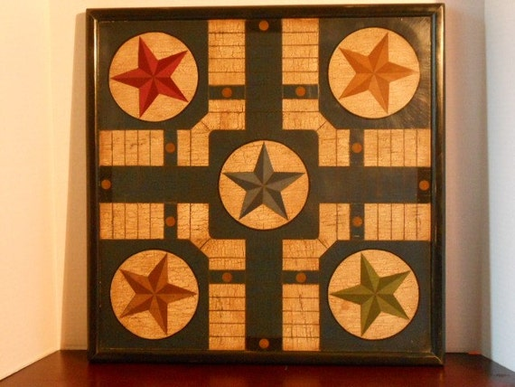 Primitive Wood Parcheesi Game Board Folk Art Gameboard