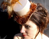Steampunk Mini Top Hat with Cream and Copper Feathers - COPPER SUN