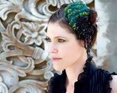 Peacock Feather Fascinator with Black Beaded Sequin and Laced Embellishments - ALLURE