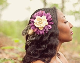 Purple Flower Fascinator with Feathers and Pine Rose - GUINEA