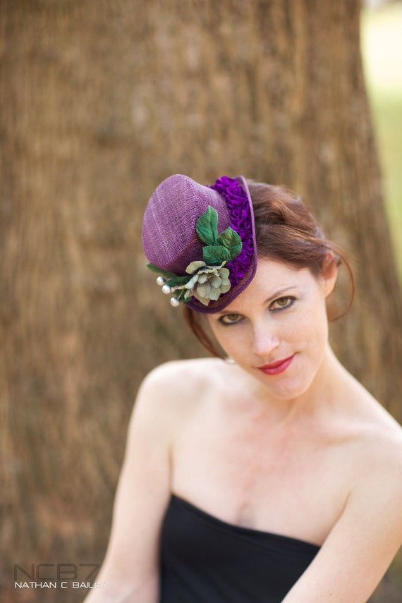 Bridal Top Hat - Purple Sinamay accented with Green Velvet and Purple Detailing - DELPHI