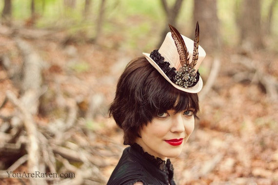 Steampunk Top Hat Mini - Pink with Lady Amherst Feathers and Crystal Centerpiece - LADY PINK