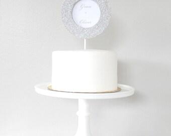 Custom Glitter Wreath Cake Topper in Silver, Gold, or White