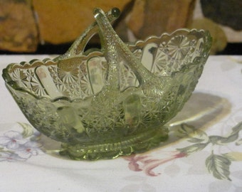 Vintage Fenton Green Oval Twig Handled Basket in Daisy and Button Panel Design on Footed Base (*)