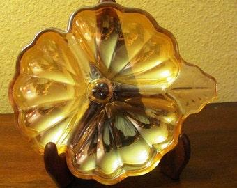 Vintage Iridescent Marigold Carnival Glass Clover Dish