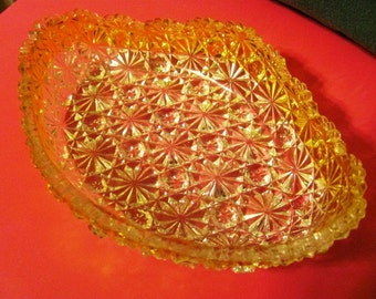 Antique Glass EAPG Daisy Button Clear Oval Yellow Crest Rim Dish