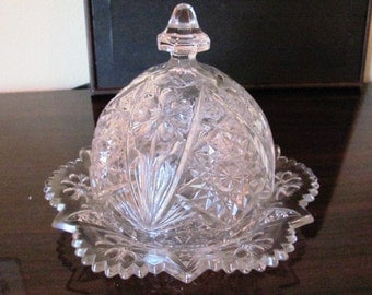 LABORSALEWEEK Vintage Imperial Glass Company Covered Butter Dish