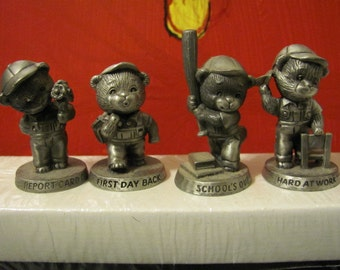 Vintage Four Little Bears made of Pewter from Avon