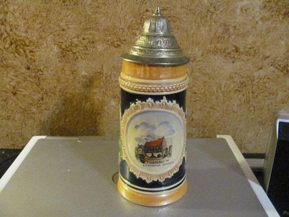 """BLACK FRIDAY SALE Vintage German Stein made in Western Germany with Lid """"Hanau"""""""