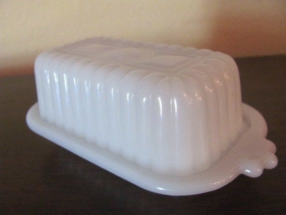 Vintage Milk Glass Covered Butter Dish By Shapadream On Etsy