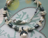 """Pearl, Shell Beads, Bamboo Coral and Antique Silver """"Under The Sea"""" Necklace and EarringsTAGT"""