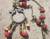 "Czech Glass and african trade beads on Valentine hummingbirds with Verdigris Antiqued Brass pendant ""the birds and the beads""necklaceTAGT"