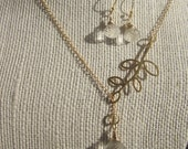 AAA Rudilated Gold Quartz on 24 k gold vermeil necklace and earring Set  Classics for a classy ladyTAGTMCTT