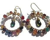 """The """"Camille G."""" Peacock toned gemstone with 24k Gold wire and Hoop Earrings April 8, 2012TAGT"""
