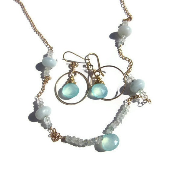 carribean magic   Peruvian Opal, Amazonite and aquamarine  on gold vermeil necklace and earring set TAGTMCTT