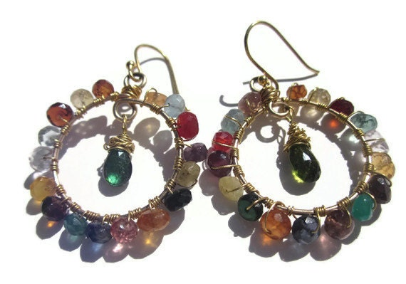 "The ""Camille G."" Peacock toned gemstone with 24k Gold wire and Hoop Earrings April 8, 2012TAGT"