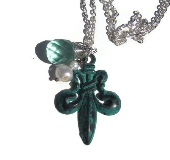 verdigris Fleur de lis with pearl and aquamarine pendant TAGTMCTT